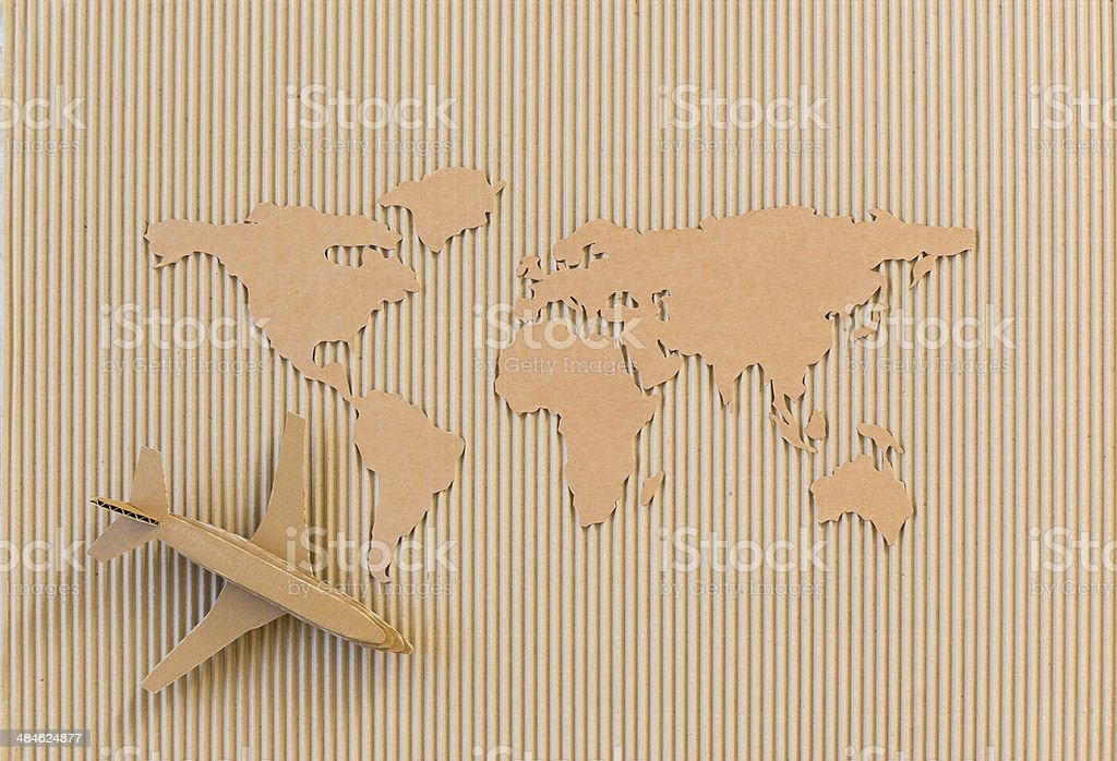 World map made of cardboard. stock photo
