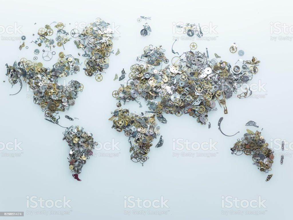 World Map Made Of Clockworks On Blue Background stock photo
