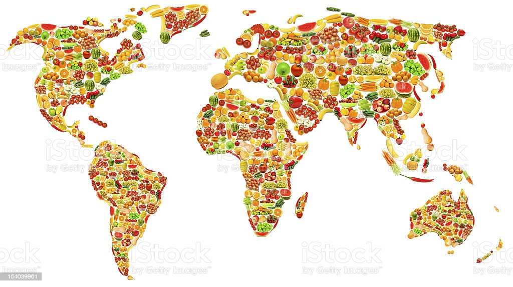 World map made of many fruits and vegetables royalty-free stock photo