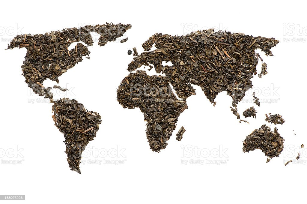 World map made of tea stock photo