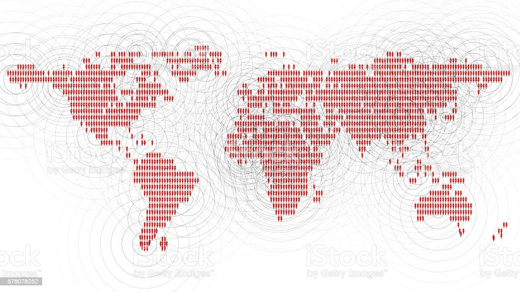 World map made of women communicating. stock photo