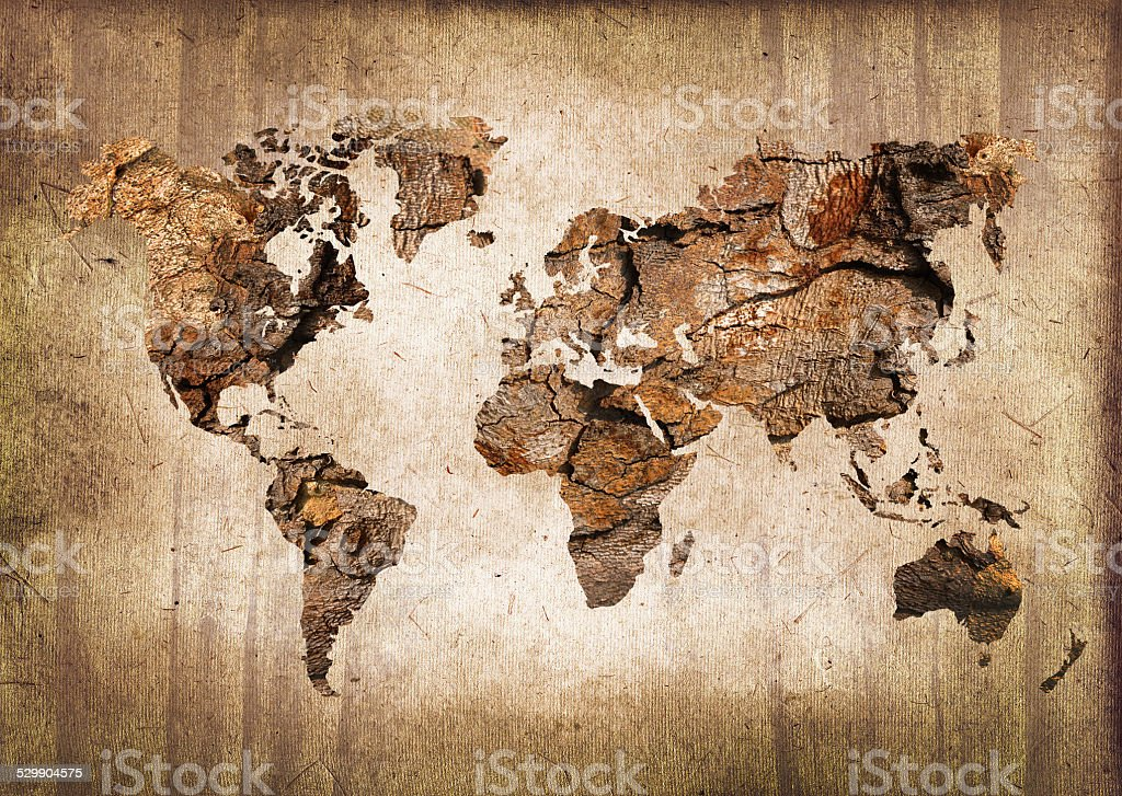 World map made of wood and paper stock photo