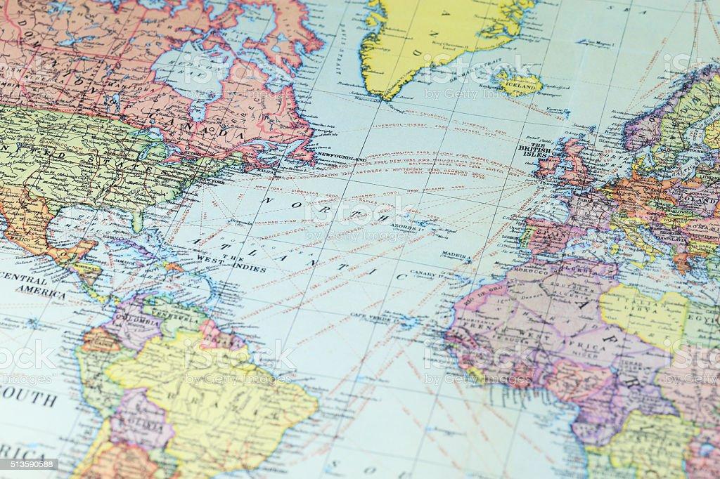 World map - North America stock photo