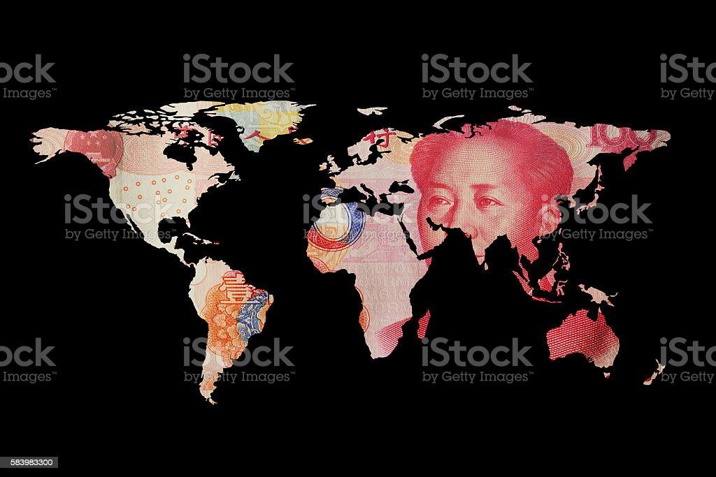 World map of RMB stock photo