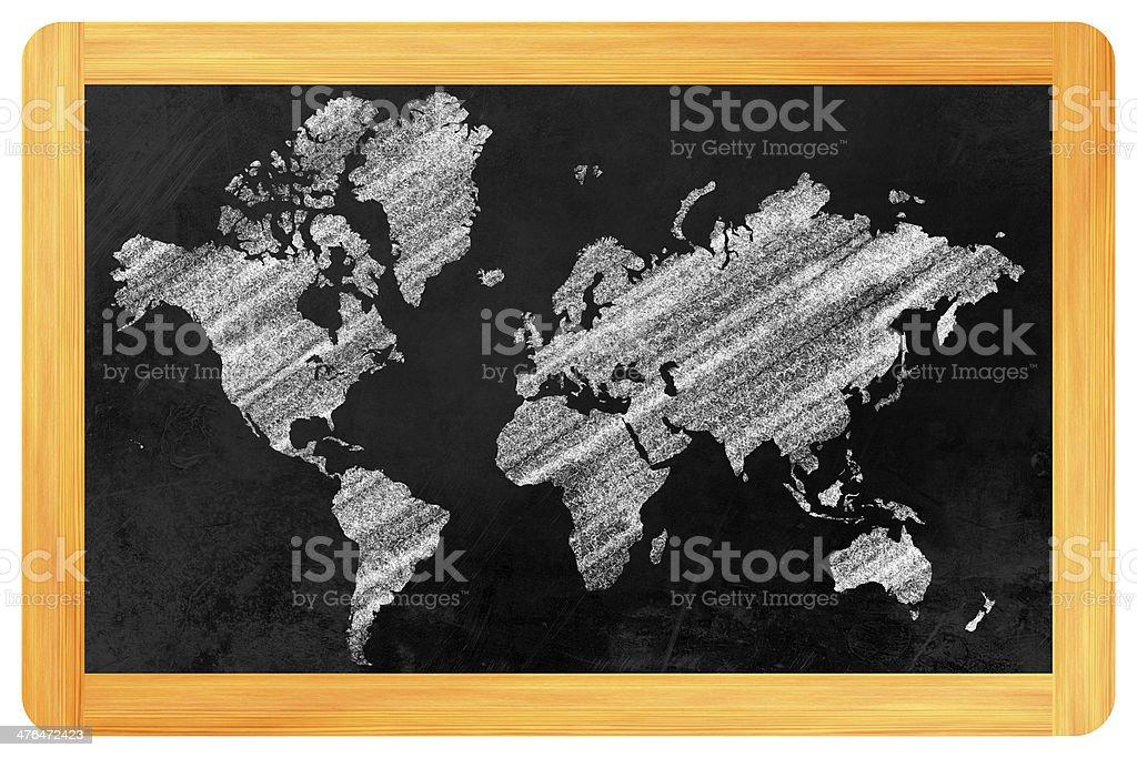 World map on a blackboard royalty-free stock photo