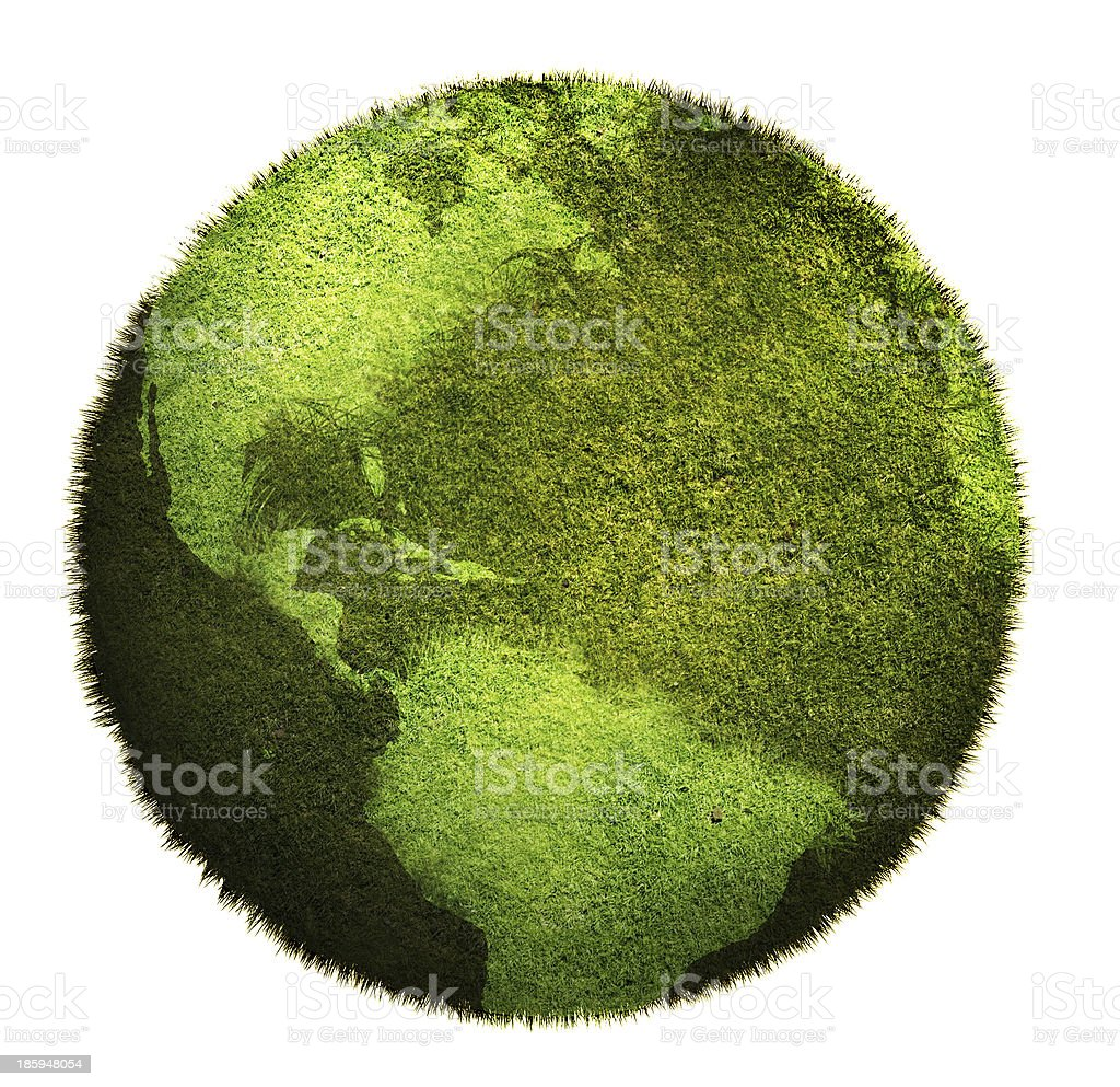 world map on a lawn stock photo