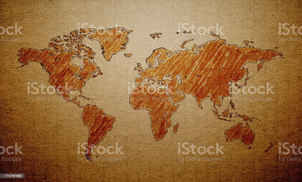 World Map on a old paper stock photo