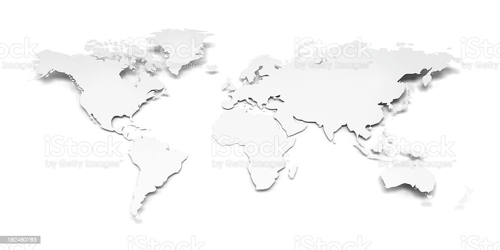 3D world map on a white paper with clipping path royalty-free stock photo