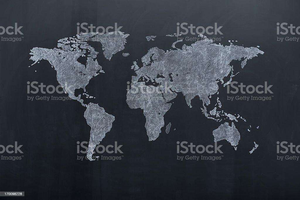 World map on blackboard stock photo