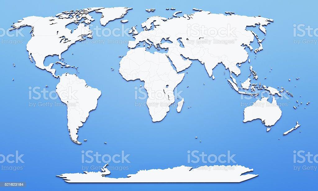 World map on blue background stock photo