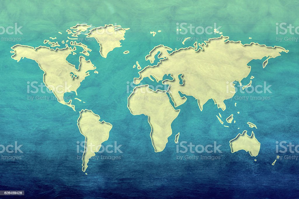 World map on blue paper stock photo