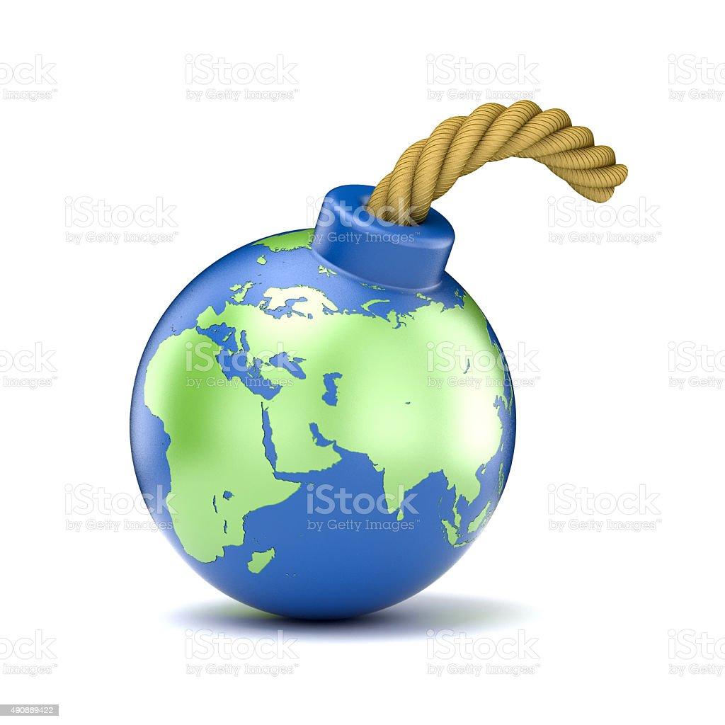World map on bomb. 3D illustration stock photo