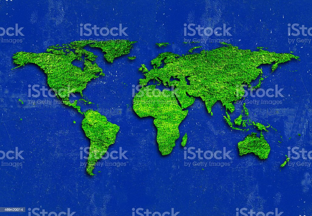 World Map on Cool blue background stock photo