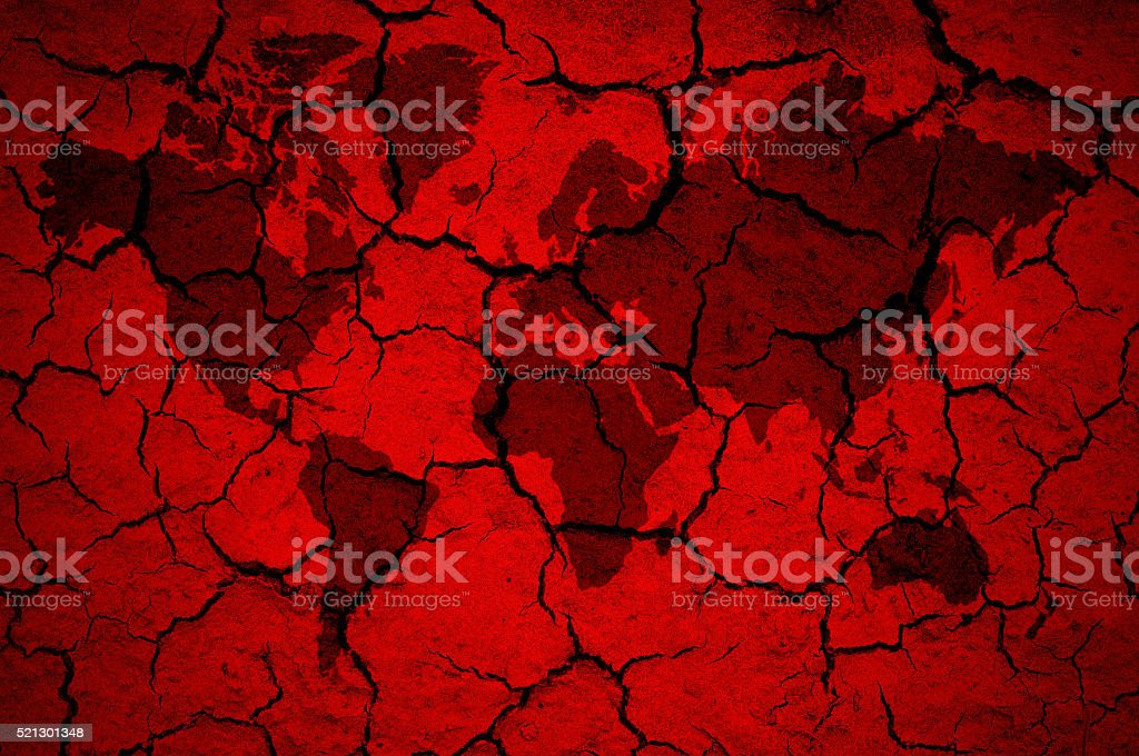 world map on cracked red background stock photo