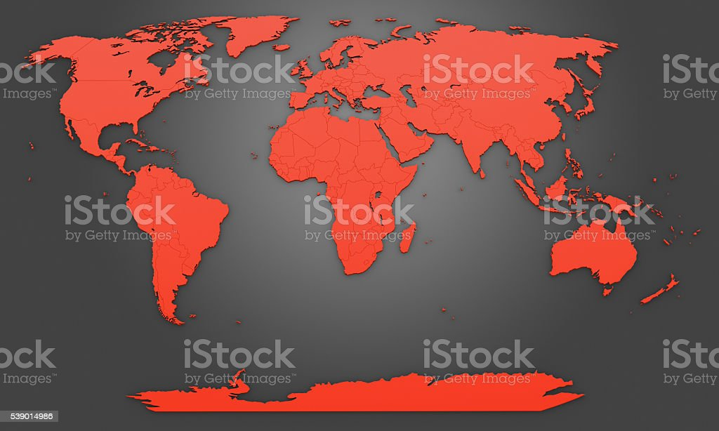 World map on gray gradient background stock photo