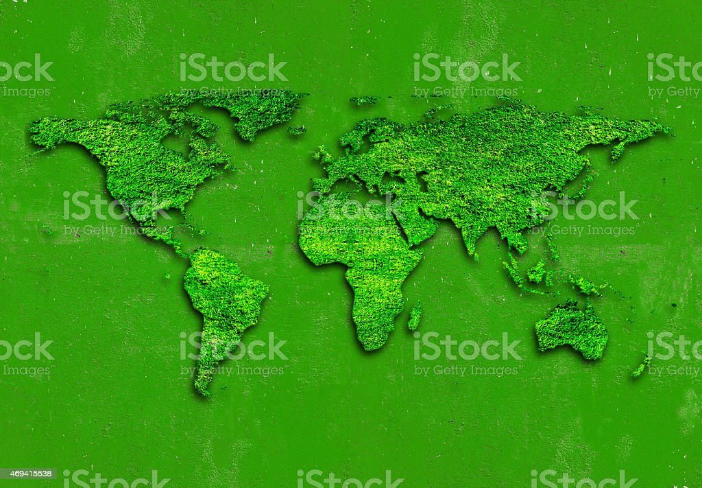 World map on Green background stock photo