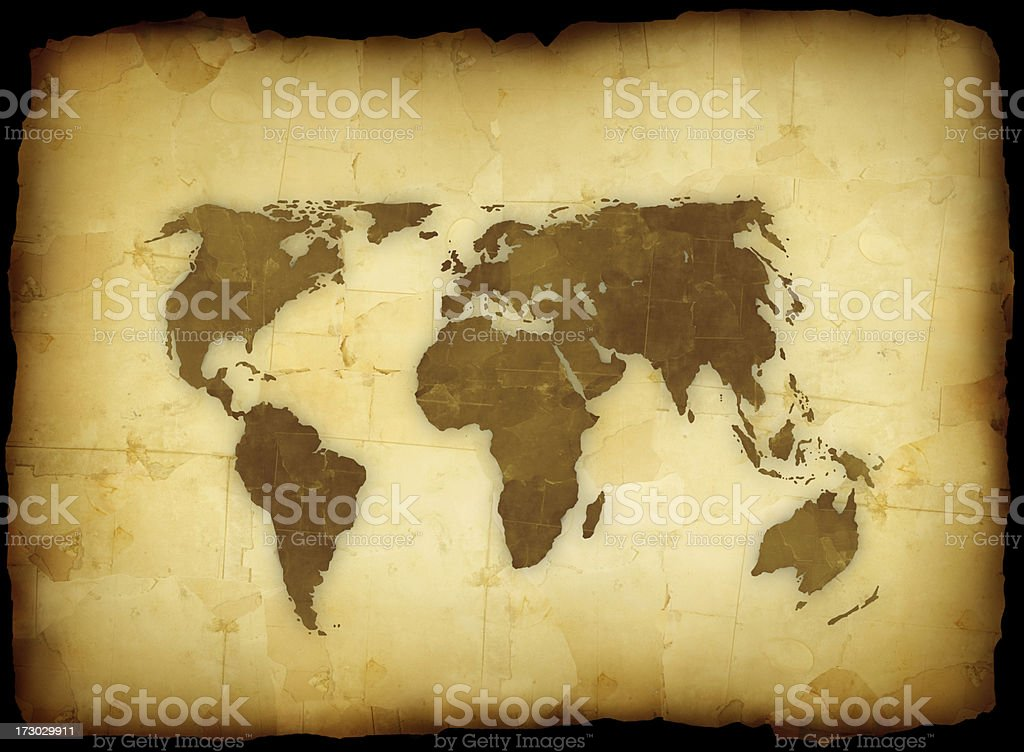 World map on grunge paper royalty-free stock photo