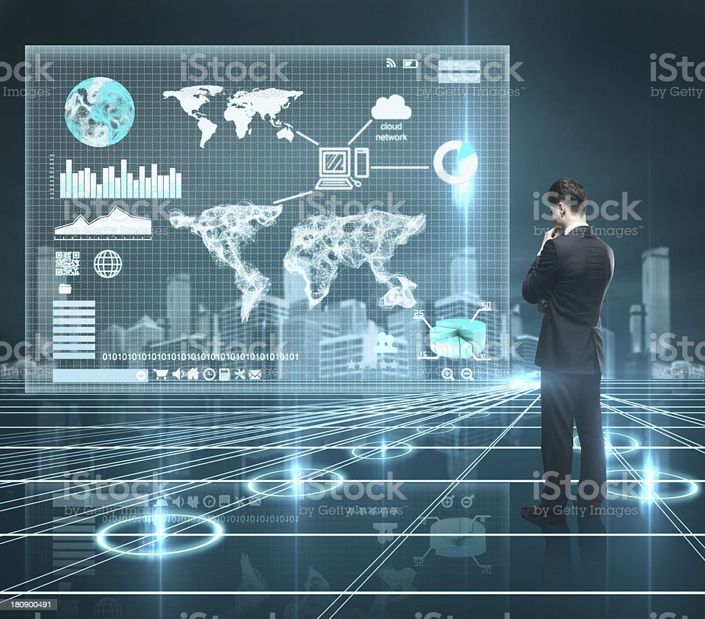 world map on interface screen royalty-free stock photo