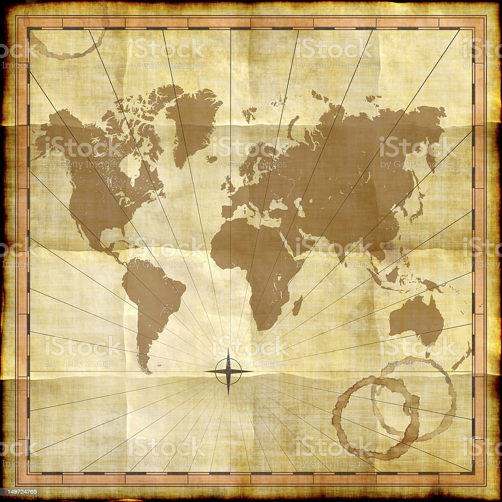World map on old paper with coffee stains royalty-free stock photo