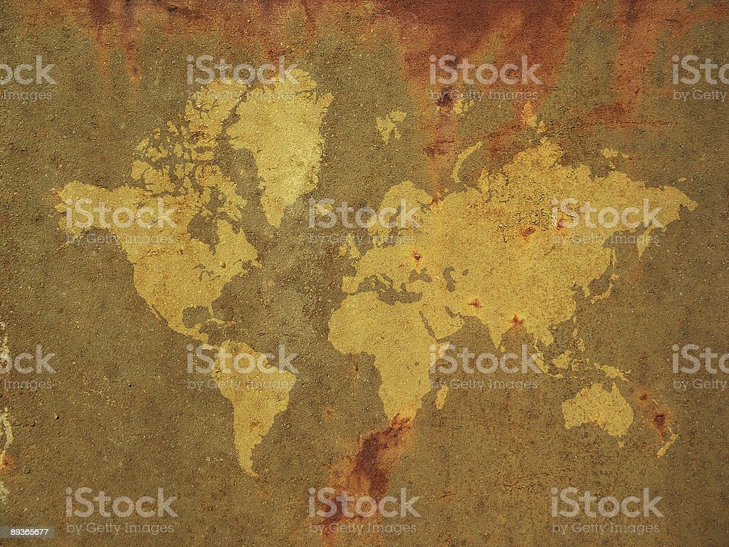 world map on rusty surface royalty-free stock photo