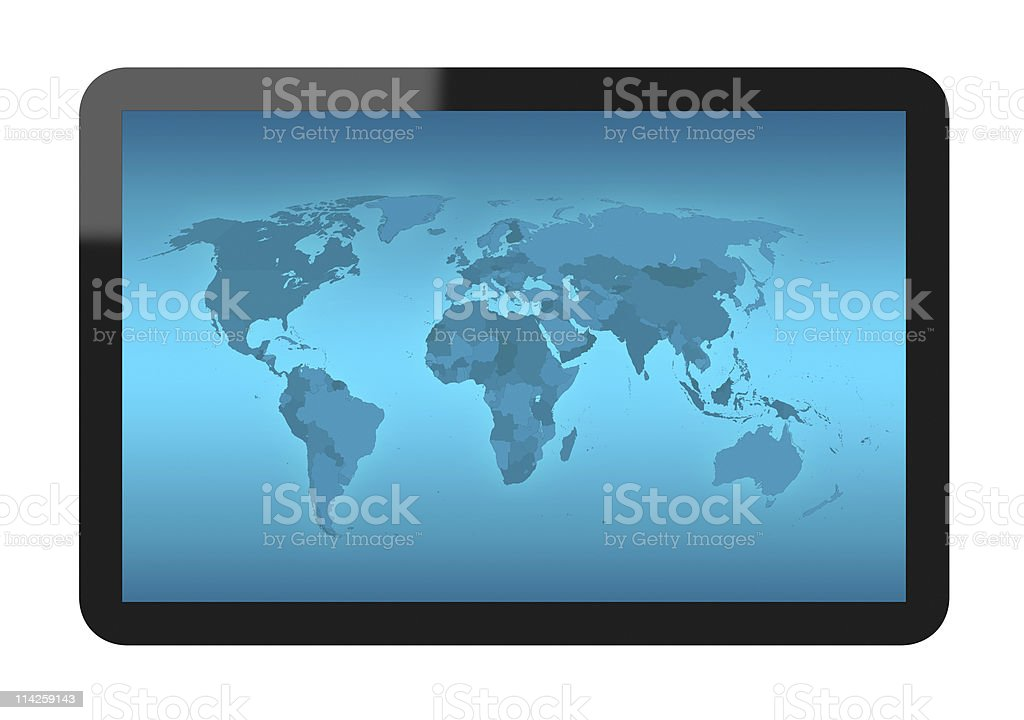 World Map on Tablet PC royalty-free stock photo