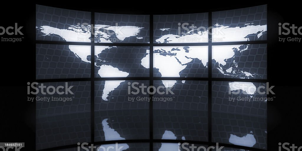 World Map on Video TV Wall royalty-free stock photo