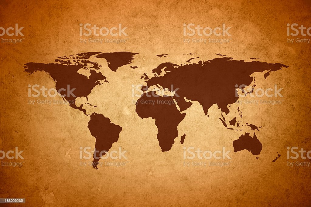 World map on vintage paper royalty-free stock photo