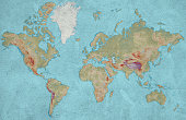 World map on wall grungy background. XXXL large