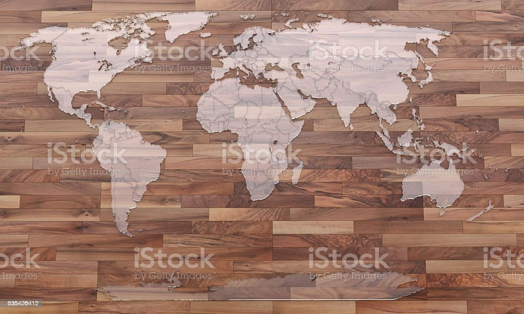 World map on wooden parquet background stock photo
