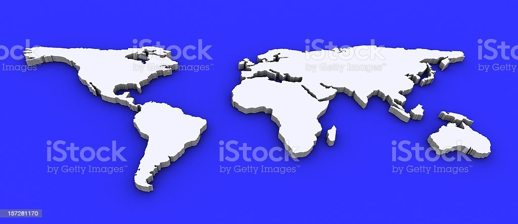 3D World Map royalty-free stock photo