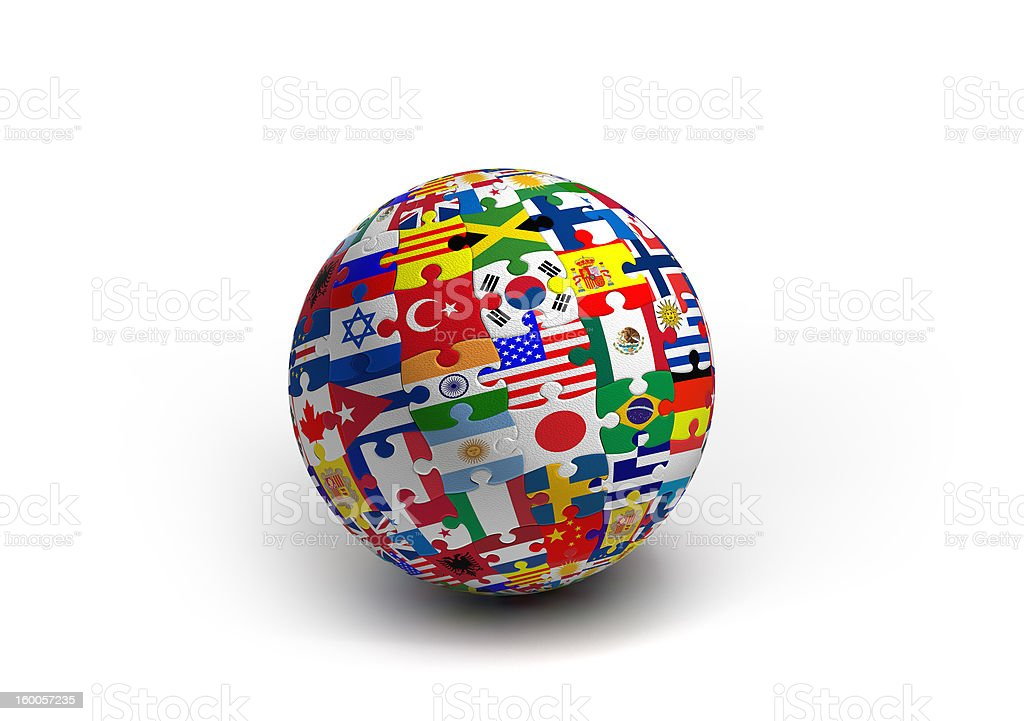 World Map Puzzle Ball royalty-free stock photo