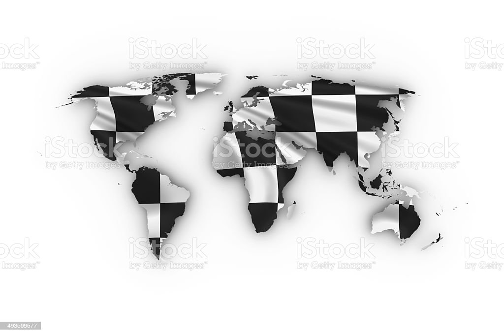 World map showing a checkered flag stock photo