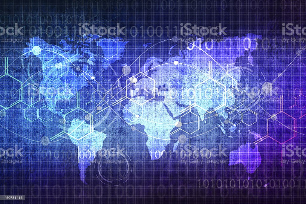 World map technology stock photo
