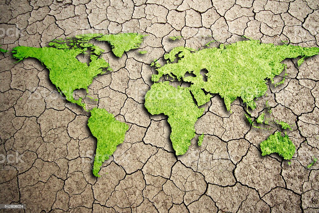 World map texture in a dried and cracked soil stock photo