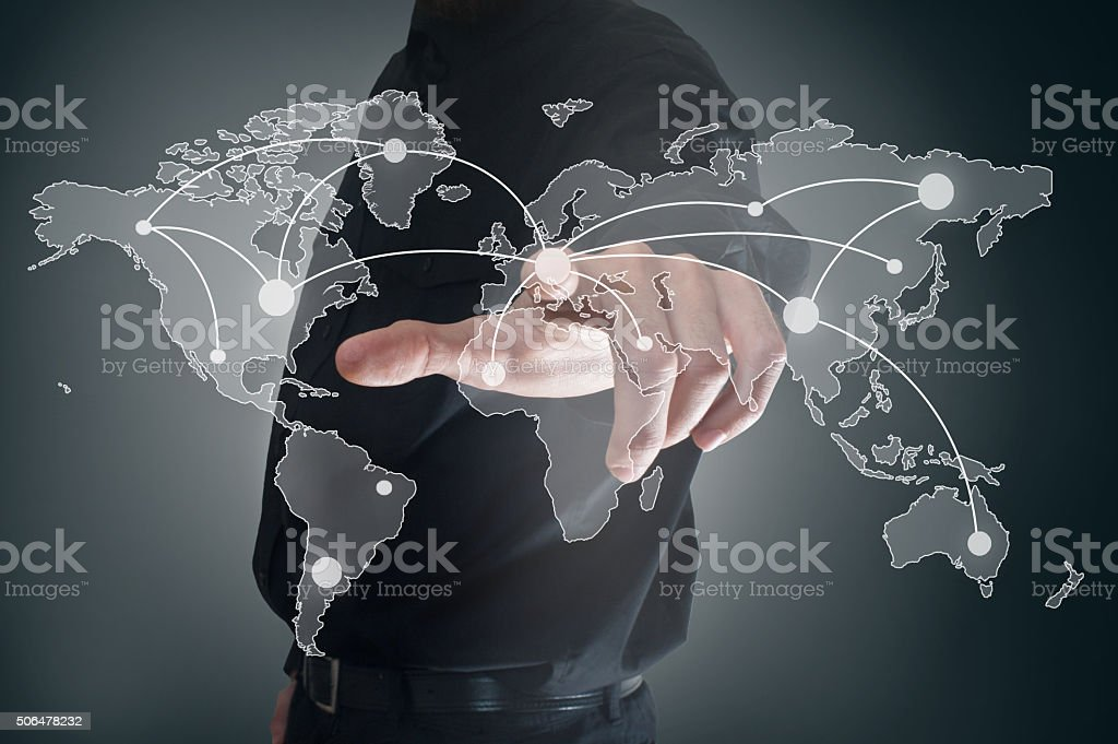 World map / Touch screen concept (Click for more) stock photo