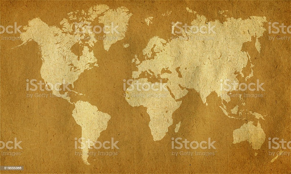 World map vintage on brown paper stock photo