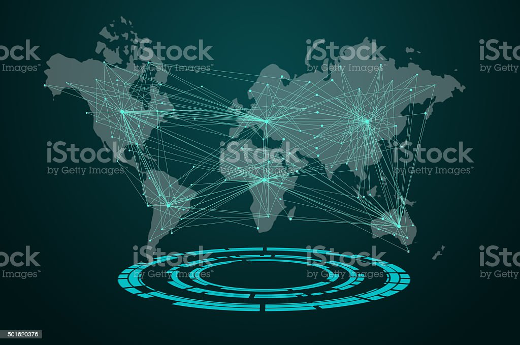 world map visual screen with connection line stock photo