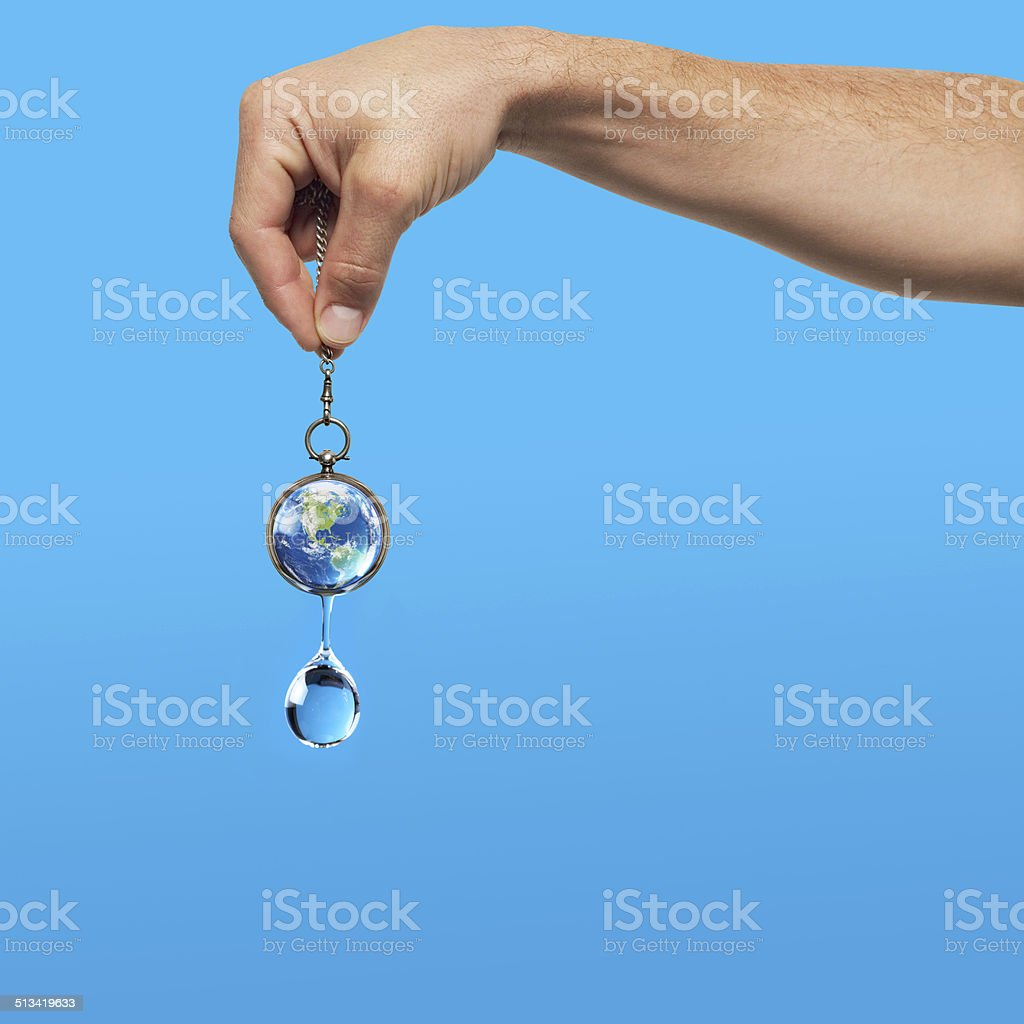 World map with hand stock photo