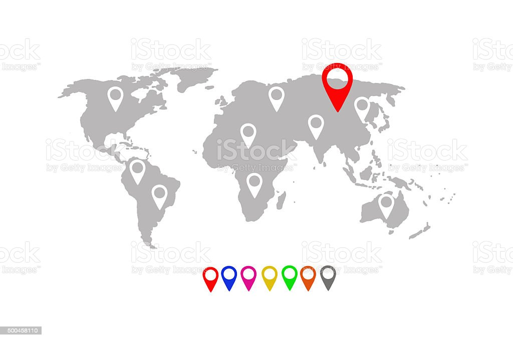 World map with location pins stock photo