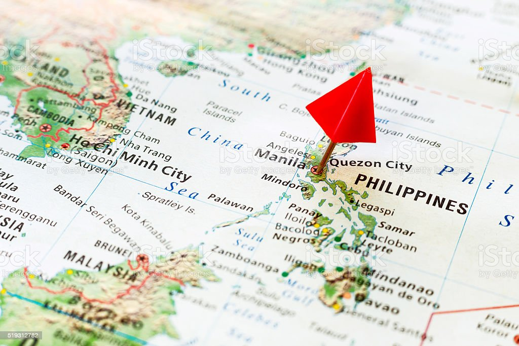 World map with pin on city of Philippines, Manila. stock photo