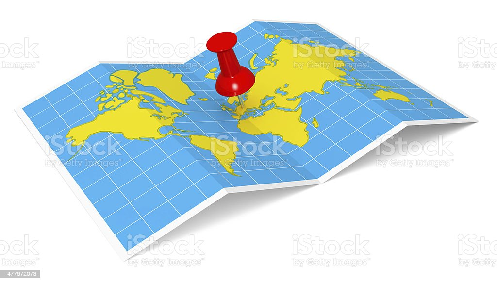 World Map with Thumbtack royalty-free stock photo