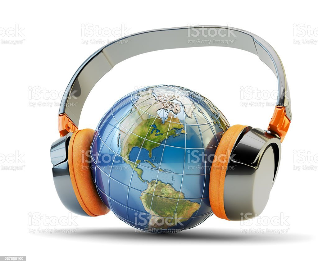 World music listening, online audio communication and internet broadcasting concept stock photo