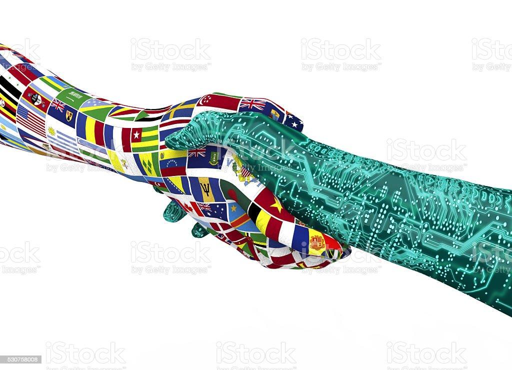 world nations hand shaking robothand isolated on white stock photo