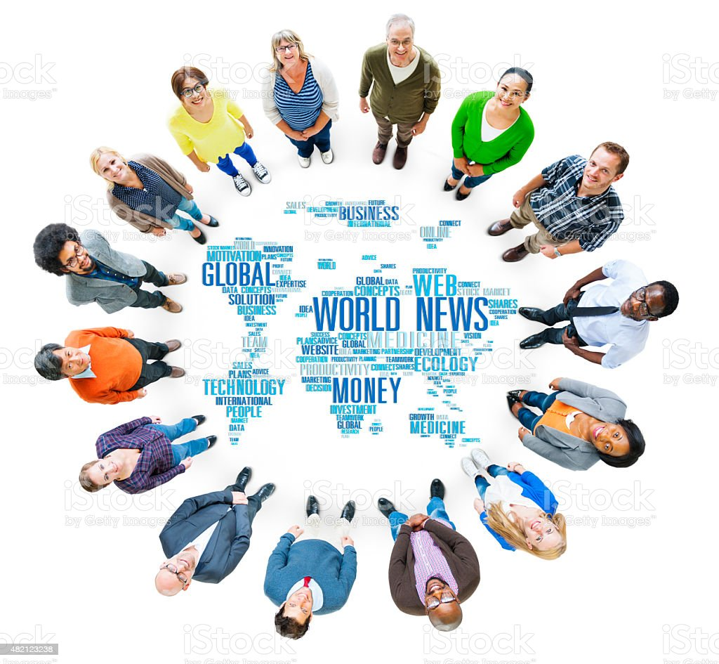 World News Globalization Advertising Event Media Information Conc stock photo