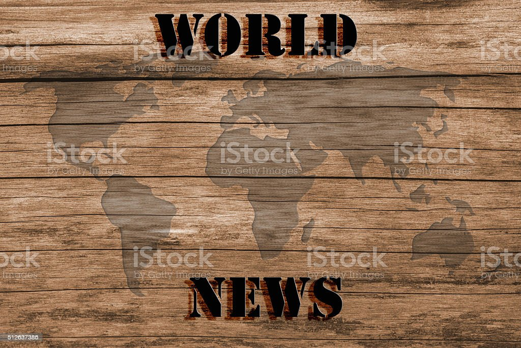 World News - Map of the World - On Wood stock photo