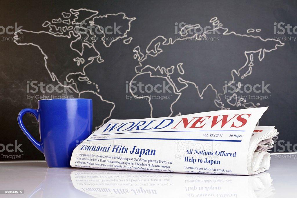 World News Newspaper Hand Drawn Map Coffee Mug royalty-free stock photo