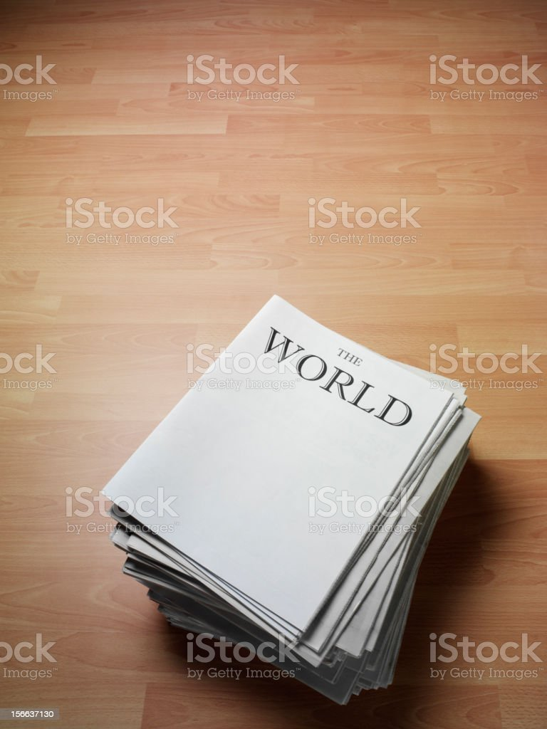 World News on the Top of Newpapers royalty-free stock photo