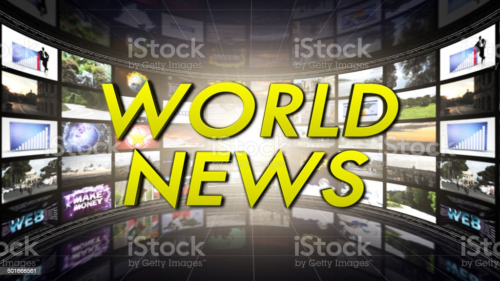 World News Text in Monitors Room stock photo