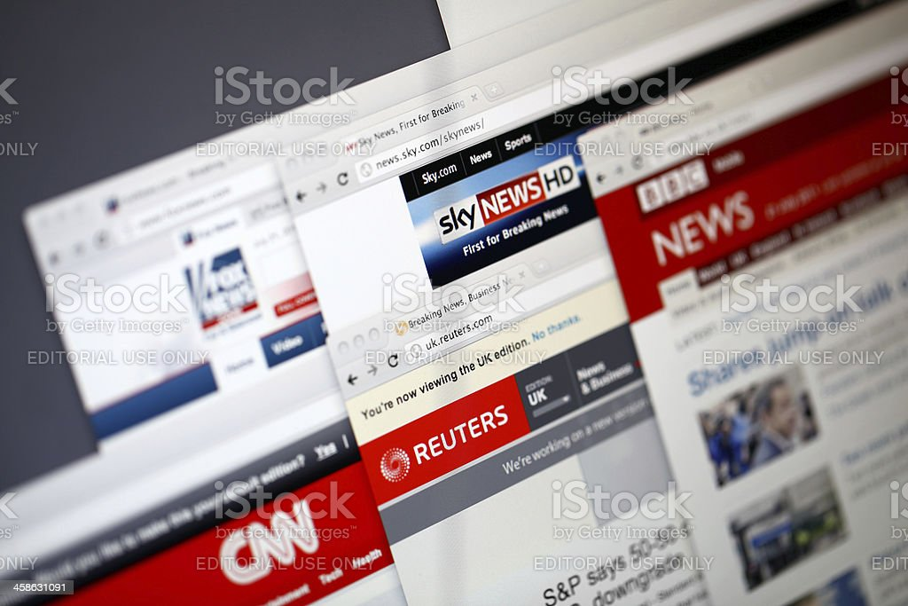 World news websites stock photo