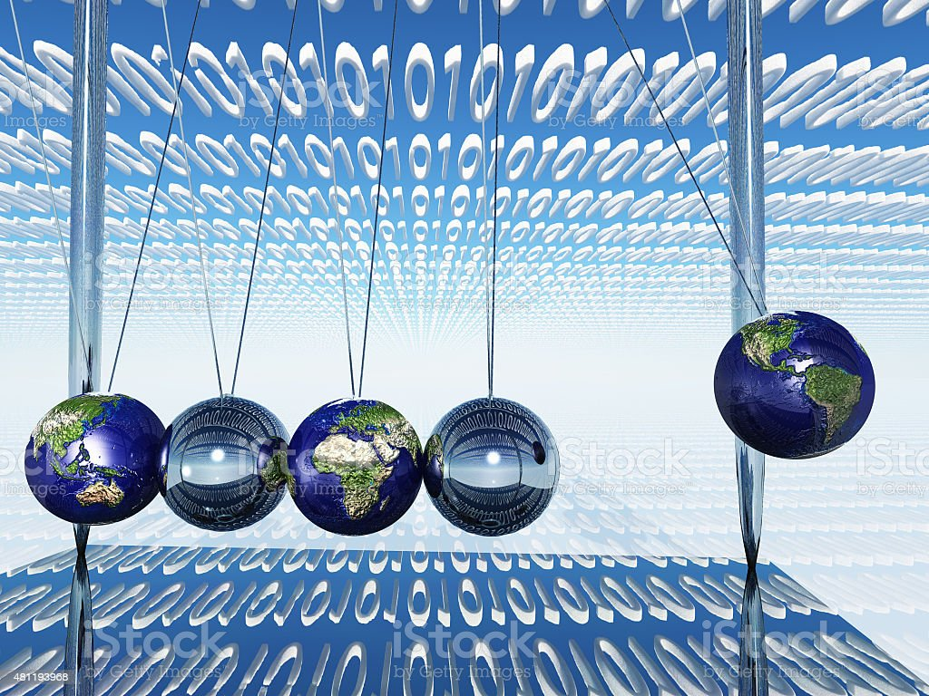 World Newtons Cradle With Binary Code stock photo